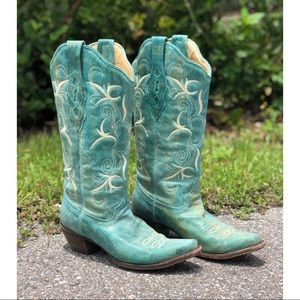 Corral | Western Turquoise Pointed Toe Boots